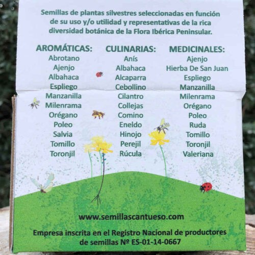 Tubos de Biodiversidad - CANTUESO - Natural Seeds (Backside)